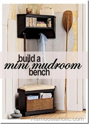 Remodelaholic mini mudroom corner bench