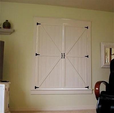 barn door inspired interior window shutters, Remodelaholic