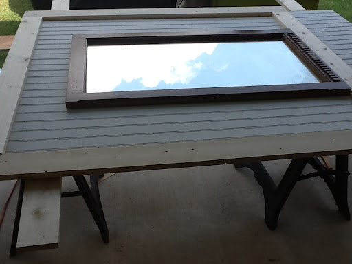 beadboard and board and batten mirror for mudroom bench