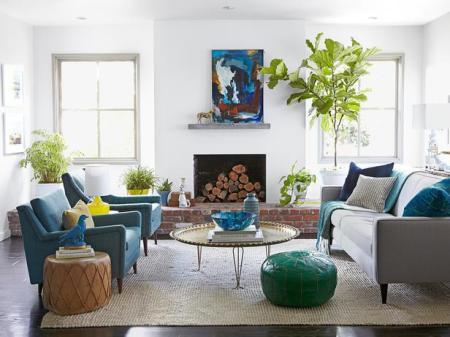 blue casual living room, Emily Henderson on HGTV