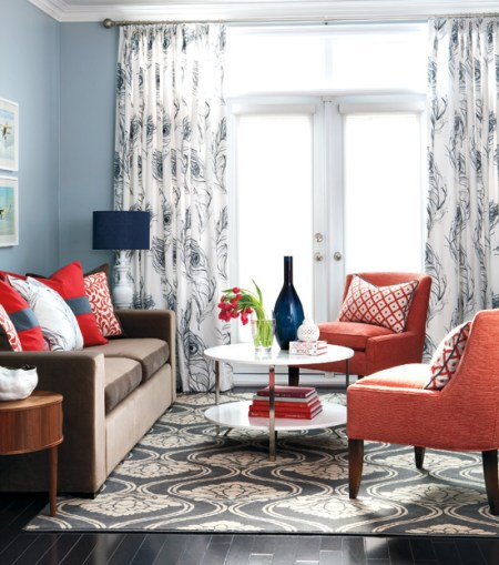 colorful casual living room in coral and navy, Style at Home