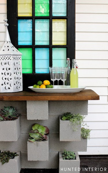 concrete block planter and serving table, Hunted Interior