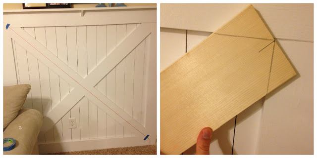 cutting corner angles for the X of the barn door style wainscoting wall treatment & Barn Door Wainscoting Tutorial | Remodelaholic