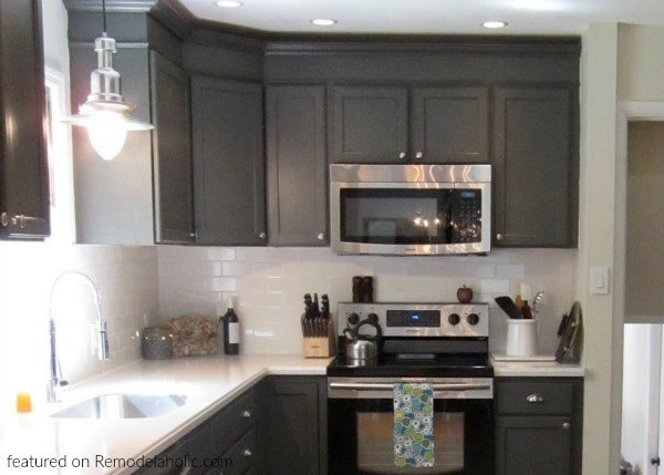 Dark Gray And White Kitchen Renovation, Featured On Remodelaholic