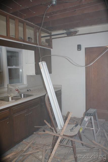 demolishing the kitchen