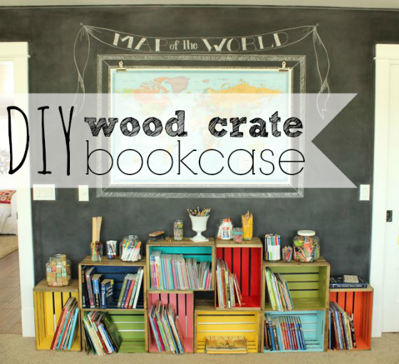 diy two tone wood crate bookcase, The Pleated Poppy