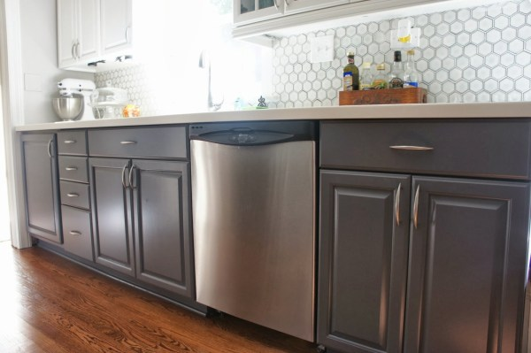 Grey And White Kitchen Makeover With Painted Cabinets And Hexagon Backsplash, LoveLee Homemaker Featured On Remodelaholic