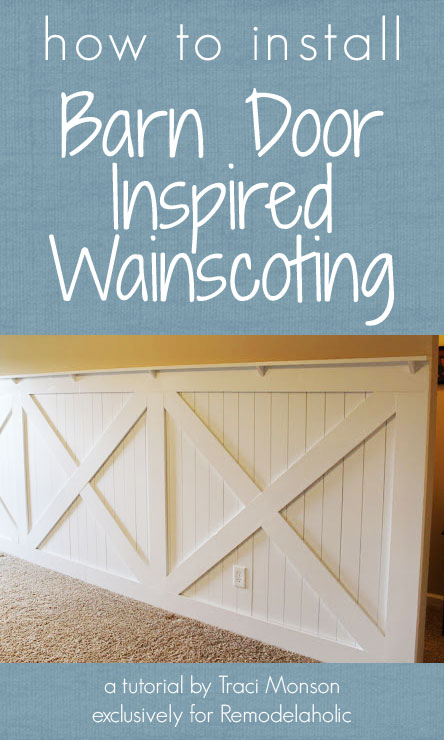 how to install a barn door inspired wainscoting wall treatment | by Traci Monson for Remodelaholic.com