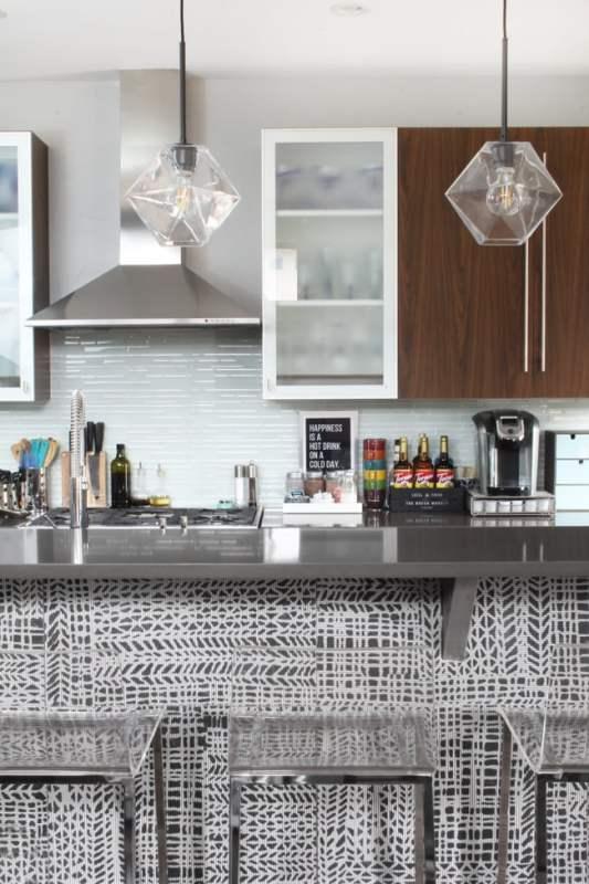 Modern Grey And White Kitchen Island Patterned Tile, Blue I Style Blog