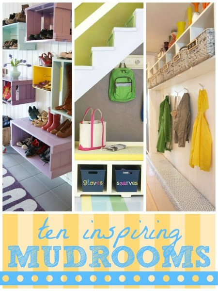 organized mudroom inspiration from Remodelaholic