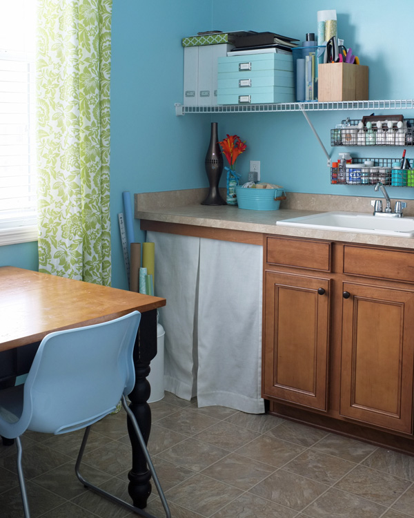 multipurpose room -- home school and homework, laundry, and craft room, Teal and Lime