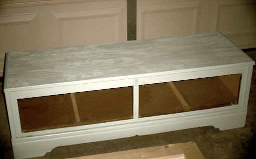 painting mudroom bench from old dresser