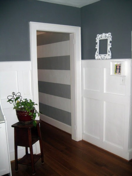 stacked square wainscoting, LA LA Land on Remodelaholic