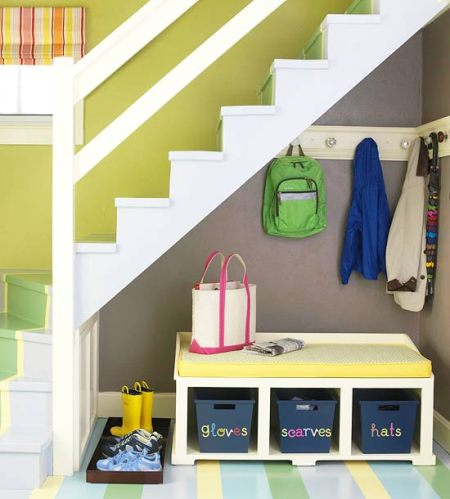 under stairs organized mudroom, Better Homes and Gardens