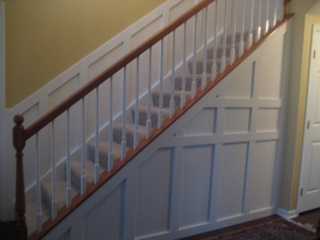wainscoting on the stairs and stair wall, Impatiently Praying for Patience on Remodelaholic