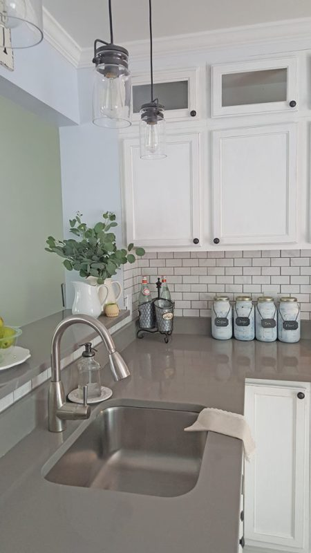 White Kitchen Remodel With Grey Counter, The Honeycomb Home