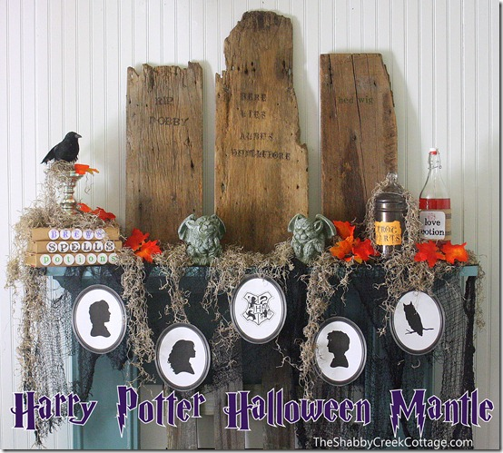 Harry Potter Halloween Mantle via The Shabby Creek Cottage