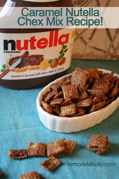 caramel nutella chex mix muddy buddies recipe, Remodelaholic