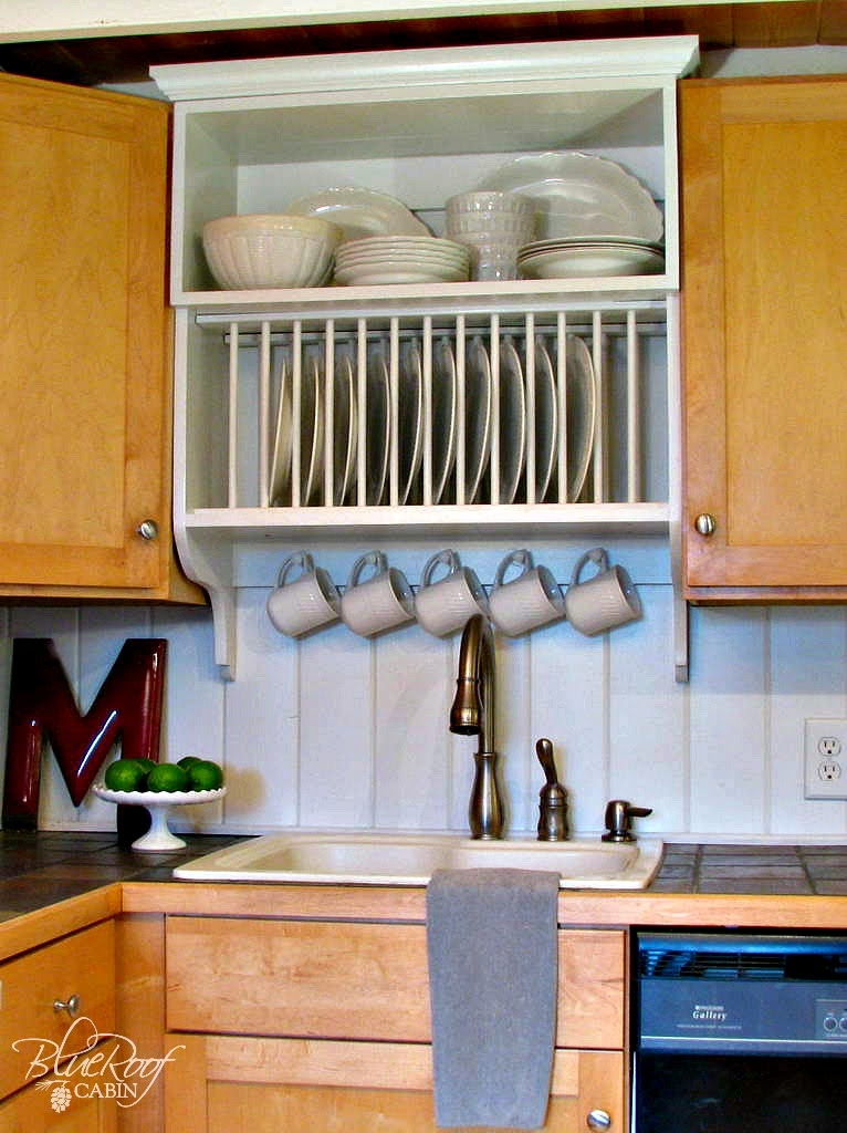 Upgrade Kitchen Cabinets Build a Custom Plate Rack | Blue Roof Cabin featured on Remodelaholic & Remodelaholic | Upgrade Cabinets by Building a Custom Plate Rack Shelf