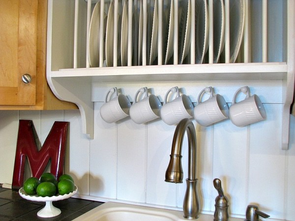 diy plate rack cabinet with mug hooks and storage shelf