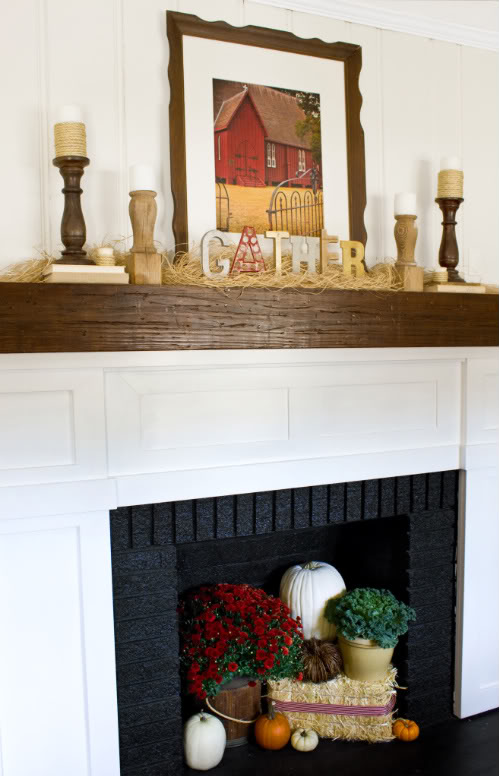 fall mantel with straw and letters, The Lettered Cottage