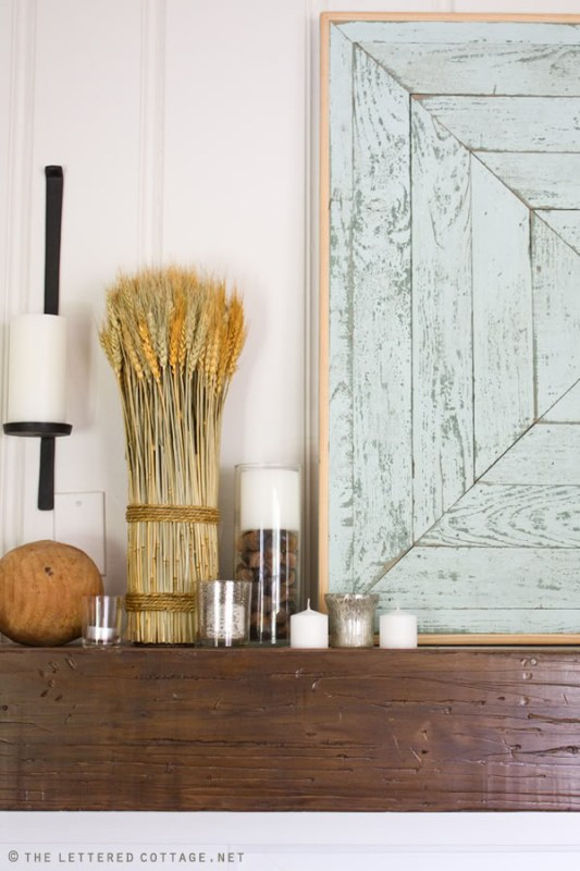fall mantel with weathered wood and wheat, The Lettered Cottage