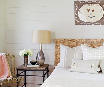 neutral rustic bedroom feature