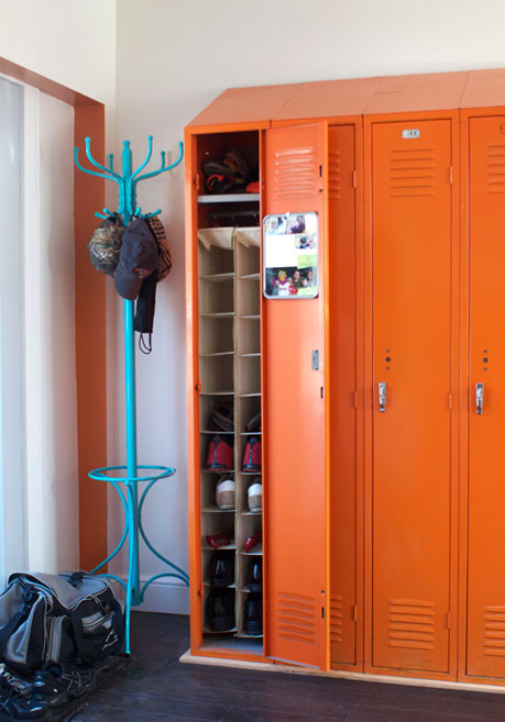 shoe storage ideas - add a shoe organizer in a mudroom locker, via Apartment Therapy