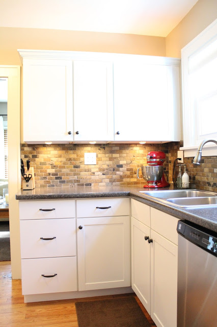 Small Kitchen Remodel with Slate Tile Backsplash | featured at Remodelaholic.com #smallkitchen #remodel #backsplash @Remodelaholic