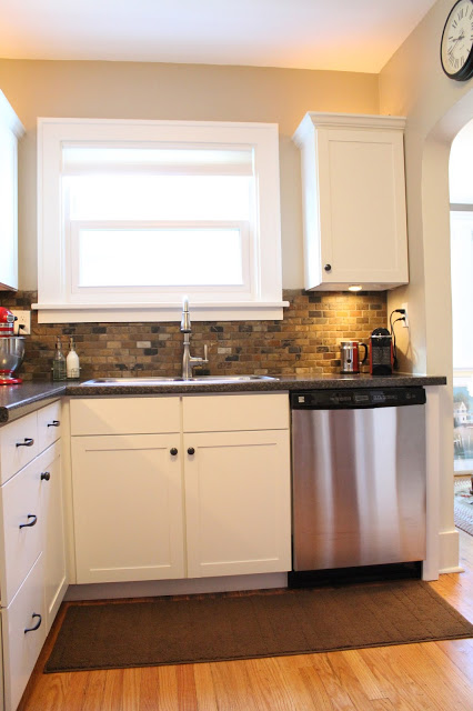 Small Kitchen Remodel Featuring Slate Tile Backsplash