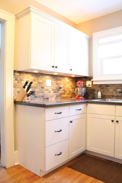 Small kitchen remodel featuring slate tile backsplash for Small kitchen remodel pictures
