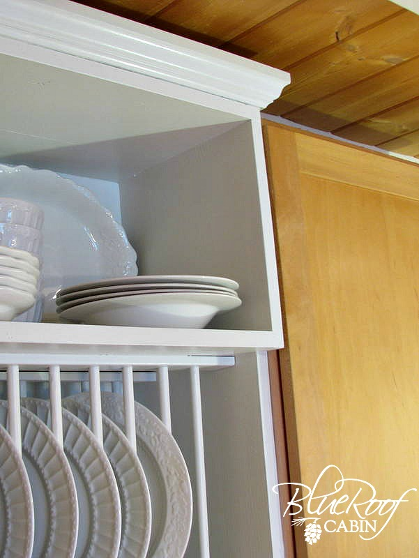 ... staggered shelves on the custom diy plate rack cabinet & Remodelaholic | Upgrade Cabinets by Building a Custom Plate Rack Shelf
