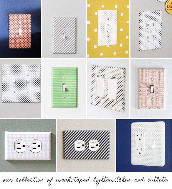 washi tape home decor - light switch plates, Crab and Fish