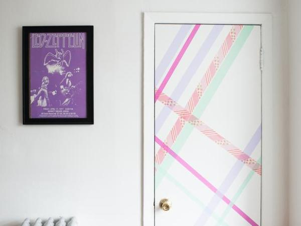 washi tape home decor - striped accent door, HGTV