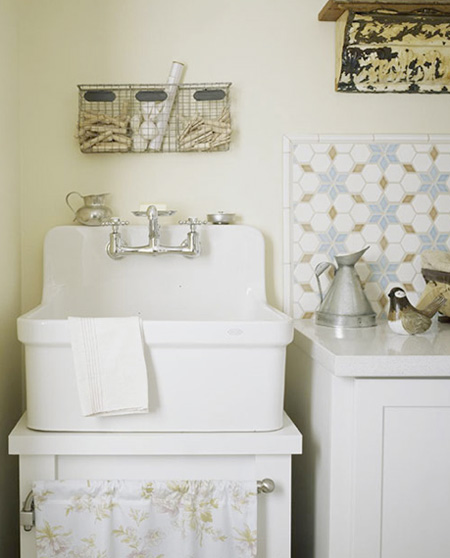 washroom sink in the laundry room, Country Home via Apartment Therapy