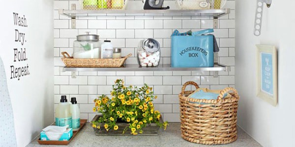 Get This Look: Fresh Laundry Nook Ideas For Small Laundry Rooms via Remodelaholic.com
