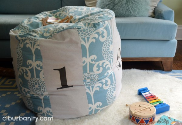 Land of Nod copycat floor pouf, featured on Remodelaholic.com