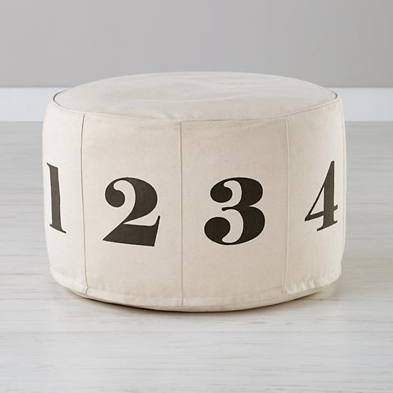 Land of Nod number pouf, , featured on Remodelaholic.com
