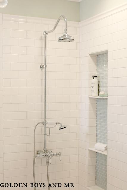 built-in shower niche in elegant master bath remodel, featured on Remodelaholic.com