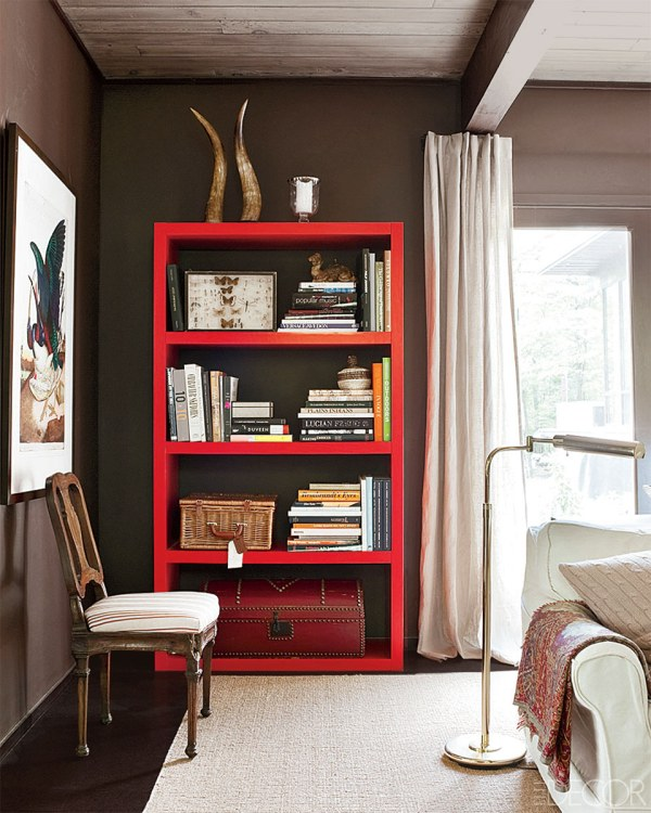 colorful open shelf, Elle Decor
