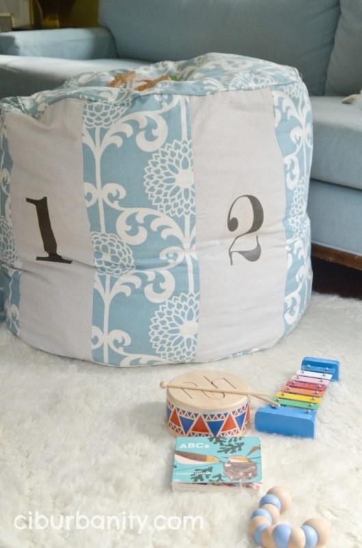 Copycat Land of Nod Floor Pouf Tutorial | Ciburbanity featured on Remodelaholic.com #copycat #knockoff #LandofNod #floorpouf #sewing