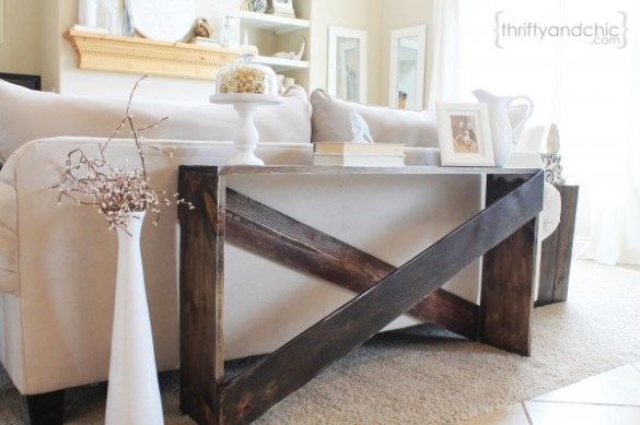 Simple sofa table tutorial   I knew it wouldn t work for my living room  because I wanted a something I  could use as a desk  I finally settled for an actual desk   but recently  we ve