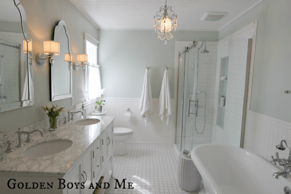 elegant master bath with glass shower, featured on Remodelaholic.com