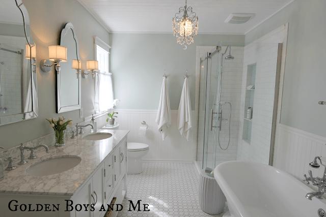 remodelaholic elegant master bath remodel with built in shelving rh remodelaholic com Grey Bathroom Remodel Bathroom Remodeling Before and After Tub