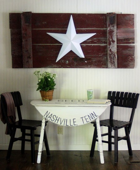 farmhouse stenciled table, The Shabby Creek Cottage via Remodelaholic.com
