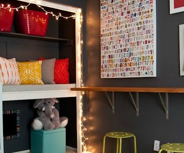 colorful kids playroom with reading loft via Remodelaholic