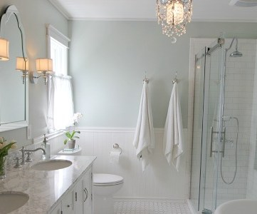 elegant master bath with glass shower, featured on Remodelaholic