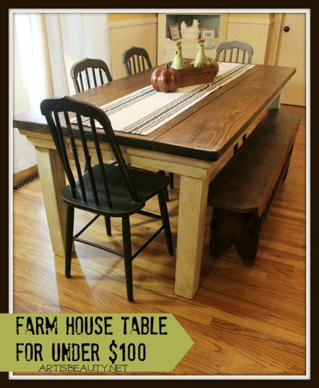 how to build a diy farmhouse table, featured on Remodelaholic.com