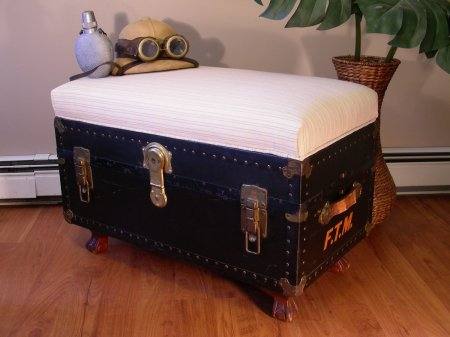old trunk turned into seating bench, Destinations Vintage on Etsy via Remodelaholic.com