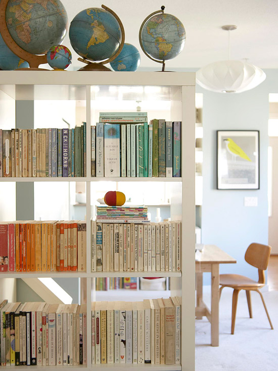 open book shelf with globes, Better Homes and Gardens
